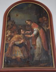 Auf dem ehemaligen Altarbild in der Pfarrkirche von Aitrang reicht ein Priester einem Ritter die Heilige Kommunion.