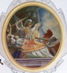 Der hl. Michael steht einer Sterbenden bei – Bild aus der Kirche in Apfeltrang