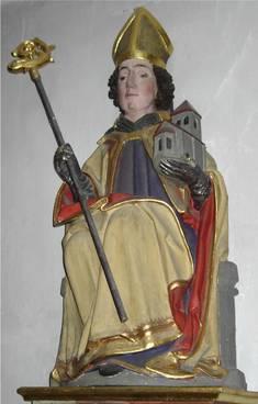 Hl. Wolfgang in Lengenwang mit einer Kirche auf seinem Arm